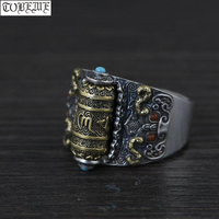 Handcrafted 925 Silver Tibetan Prayer Wheel Ring Buddhist OM Mani Padme Hum Ring Good Luck Turning Man Ring Resizable