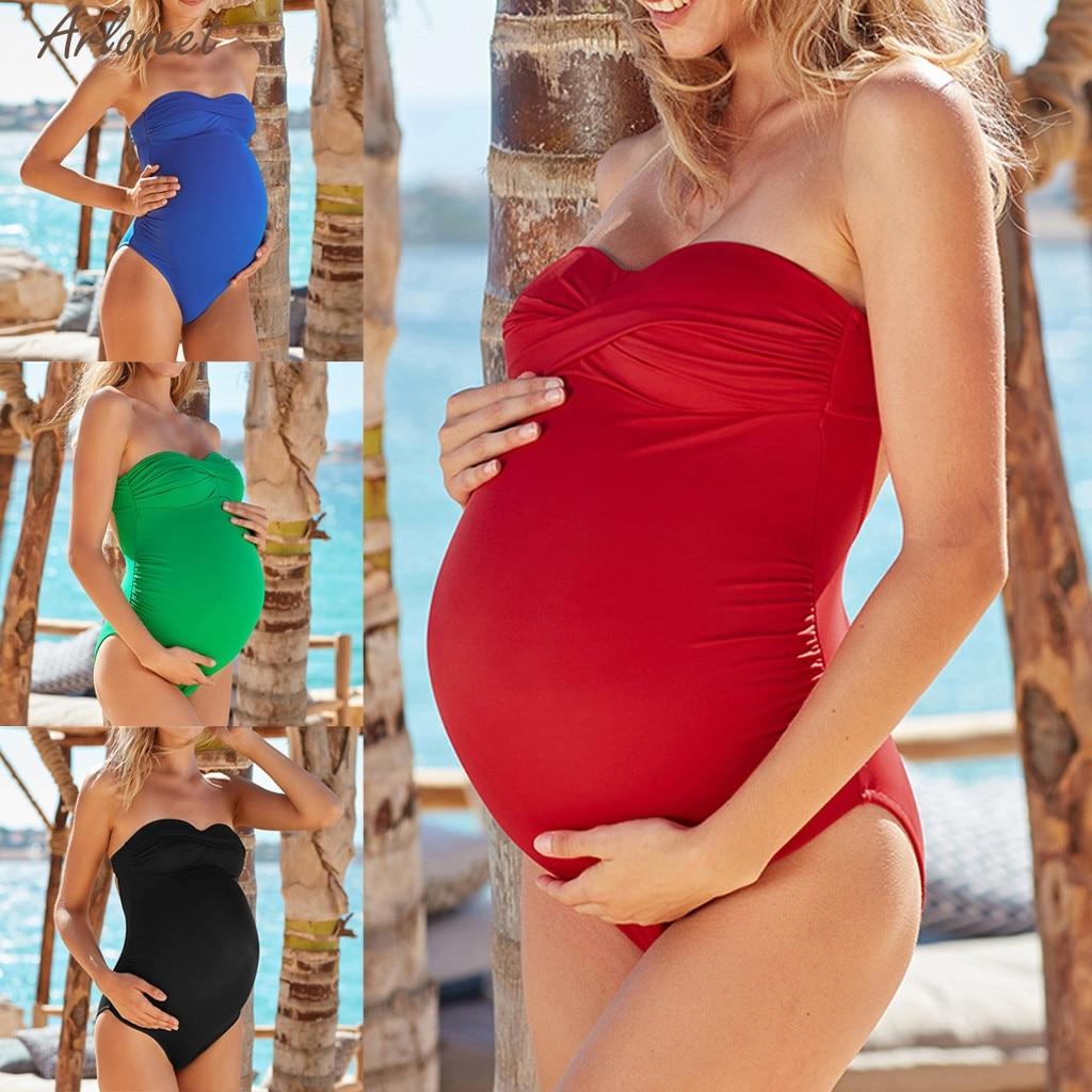 Swimsuits for Women Maternity Pregnant Tankinis Tummy Control One Piece Bathing Suits Ruffled Bikini Tankini