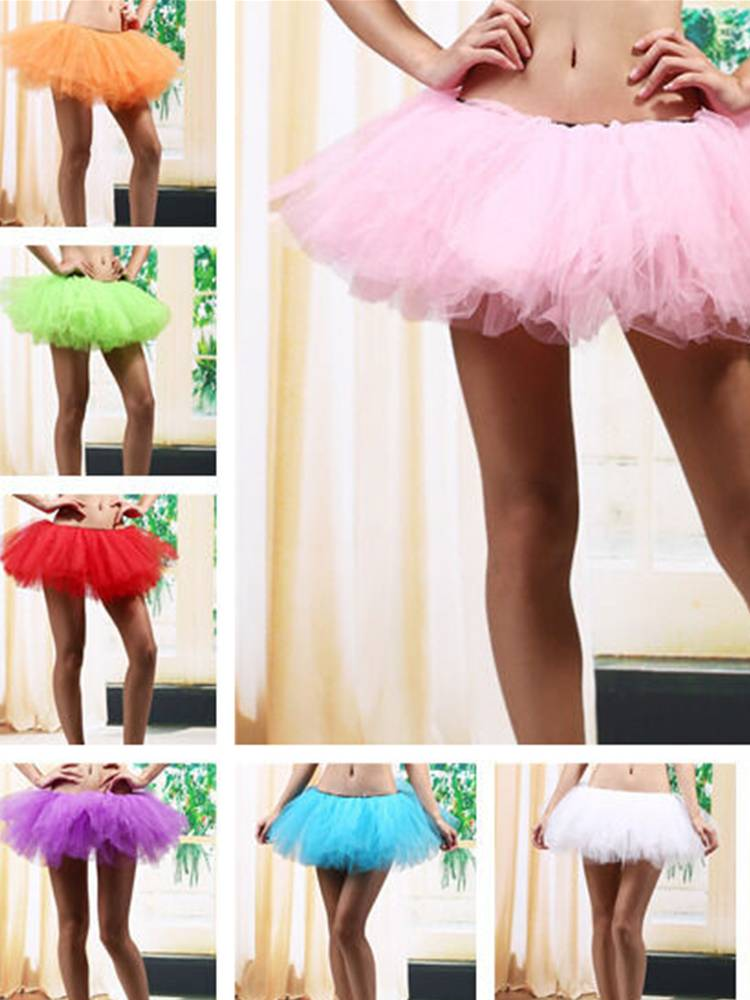 5 Layers Adult Women Organza Dancewear Tutu Tulle Ballet Princess Party Skirt Petticoat Dance Rave Neon Party Costume Yu