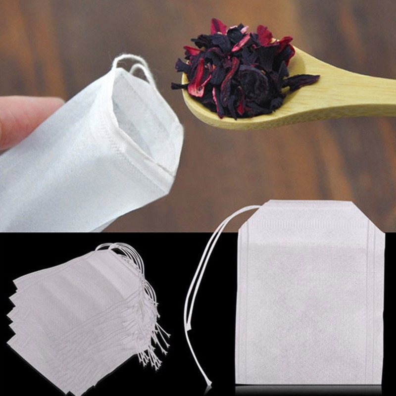 Urijk 5.5 X 7CM 100 Pcs Tea Bags Bags For Tea Bag Infuser With String Heal Seal Sachet Filter Paper Teabags Empty Tea Bags