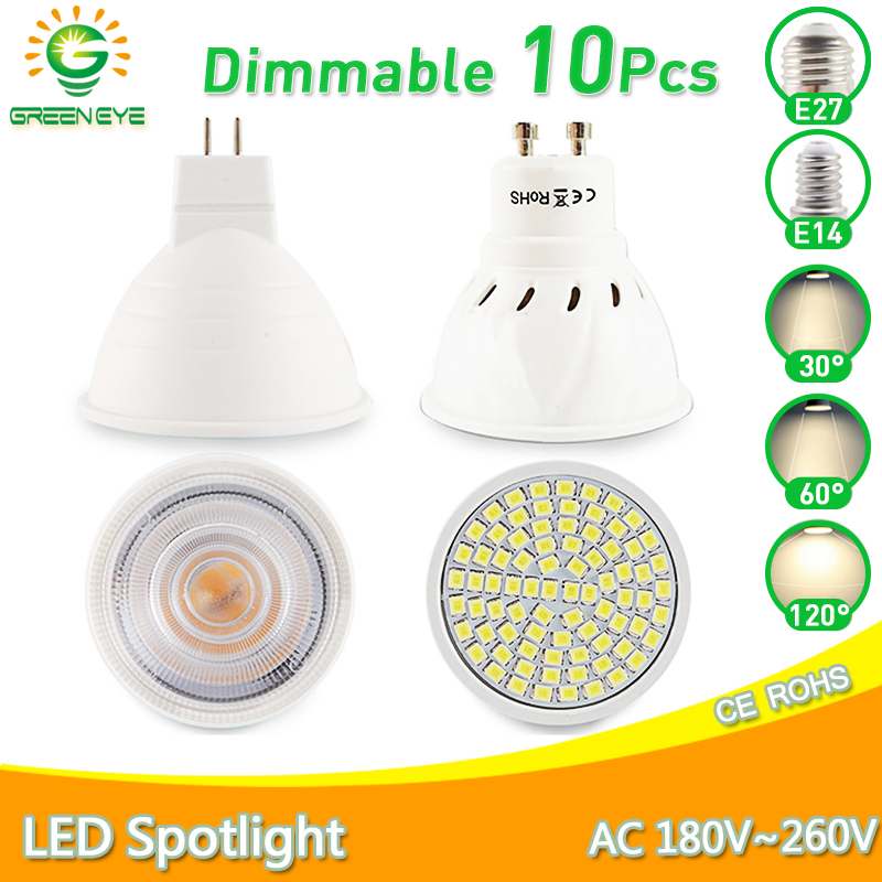 10pcs Led Lamp Spot GU10 MR16 E27 E14 LED Bulb 6W 3W 8W 220V AC12V LED Dimmable Spotlight Lampada Bombillas cold warm white