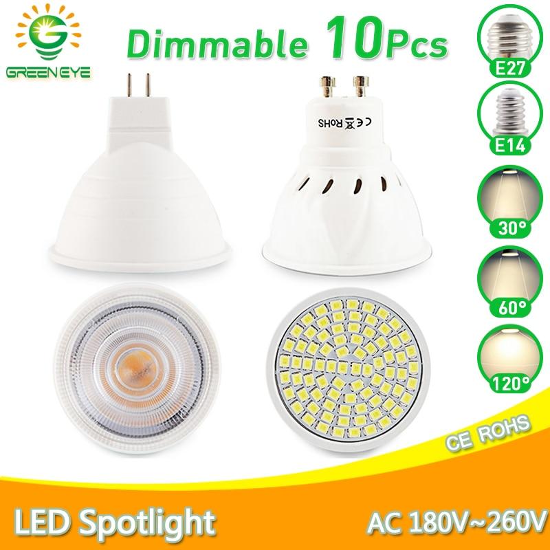 10pcs Led Lamp Spot GU10 MR16 E27 E14 LED Bulb 6W 3W 8W 220V AC12V LED Dimmable Spotlight Lampada Bombillas cold warm white