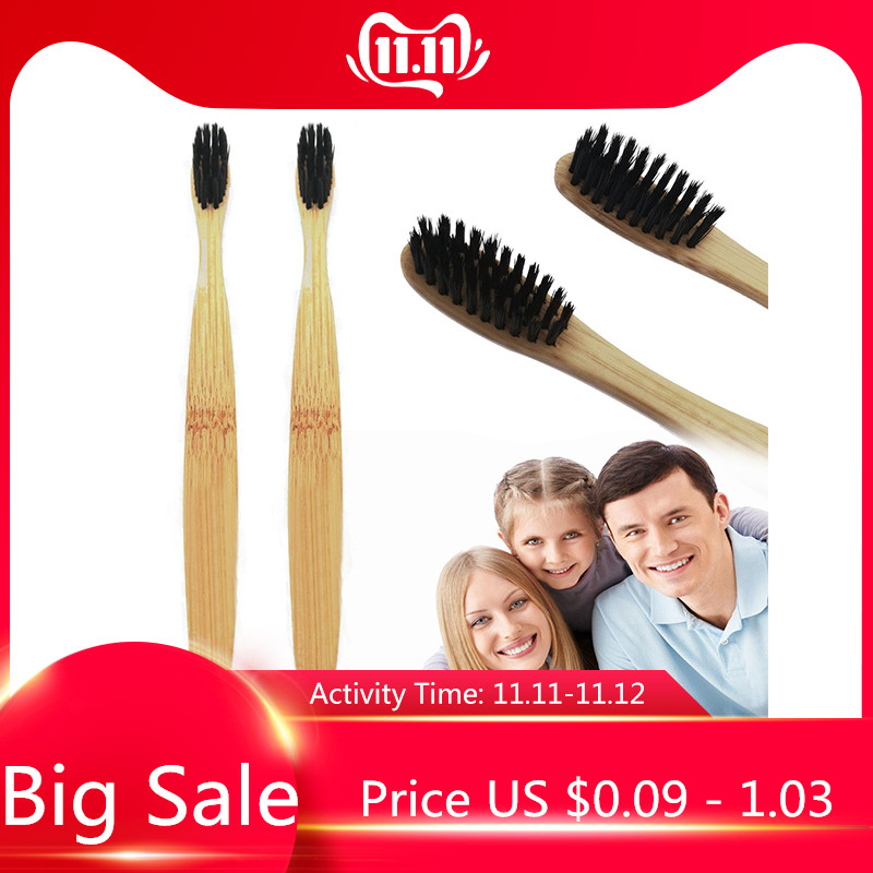 2/1 PCS Environmental Bamboo Charcoal Health Toothbrush For Oral Care Teeth Cleaning Eco Medium Soft Bristle Brushes