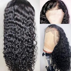 Image 2 - Brezilyalı 13x4 dantel ön İnsan saç peruk ön koparıp bebek saç ile derin dalga kısa su kıvırcık Frontal peruk siyah kadınlar için