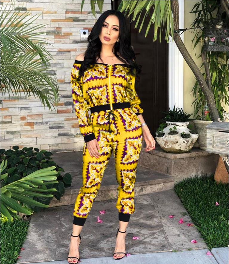 2019 New Fahsion African Clothes For Lady Dashiki Top And Pants Suit Dress TS972