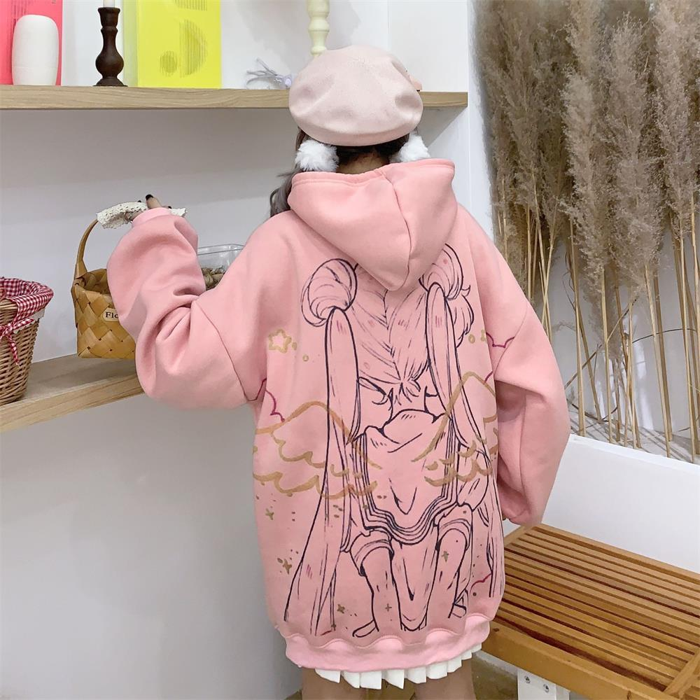 Sailor Moon Cartoon Print Hoodies Women Hooded Long Sleeve Autumn Winter Sweatshirts Harajuku Cute Kawaii Tops Oversize Pullover