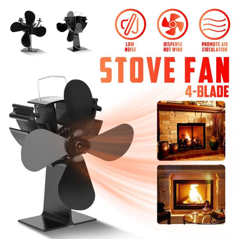 4 Blades Fireplace Stove Fan Eco-Friendly Heat Powered Fireplace Fan Winter Warmer Stove Fan For Home Fireplace Log Wood Burner