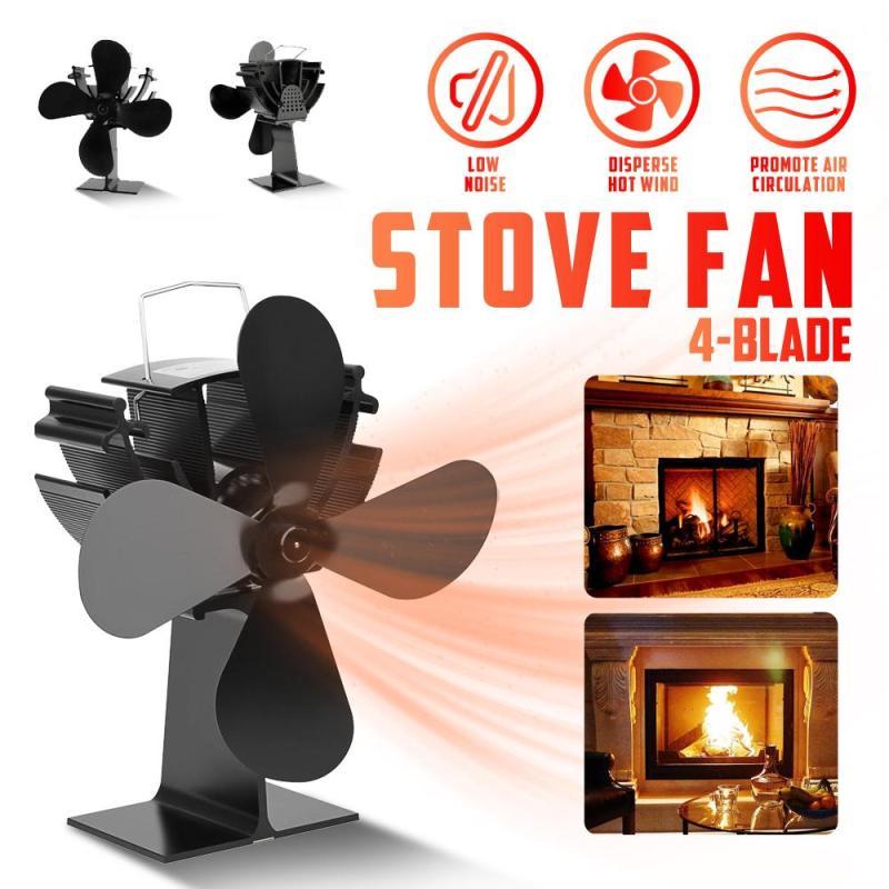 4 Blades Fireplace Stove Fan Eco-Friendly Heat Powered Fireplace Fan Winter Warmer Stove Fan For Home Fireplace Log Wood Burner