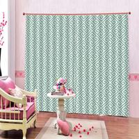 Modern Geometric Mesh Window Curtains Green For Living Room Blackout Indoor Drapes Kids Curtains Custom any size