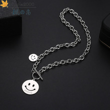 Fashion smiley pendant necklace hip hop stainless steel chain necklace for men and women Trendy fashion necklaces jewelry 2020 fashion hip hop chain necklace for women jewelry gifts letters and lock pendant necklace accessories