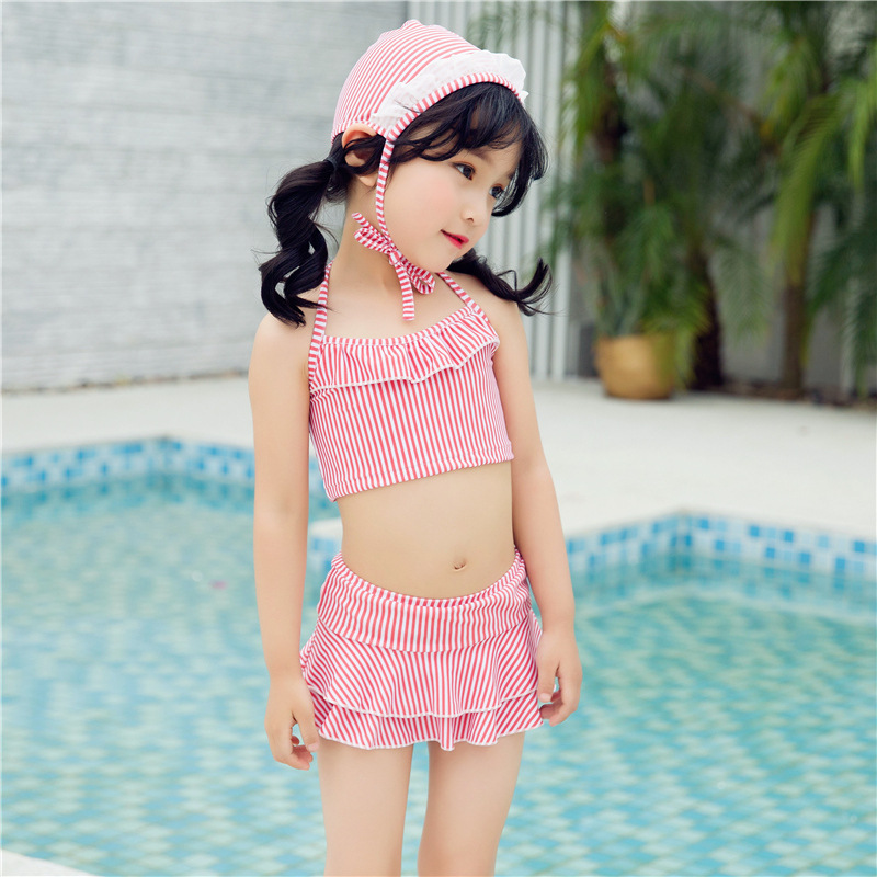 2019 New Style Children Korean-style Hot Springs Swimming Children GIRL'S Swimsuit Gift Princess Hat