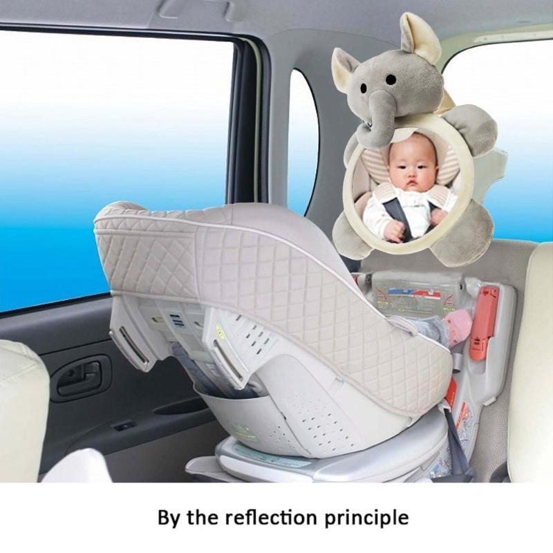 Cartoon Elephant Car Adjustable Rearview Mirror Infant Safety Back Mirror