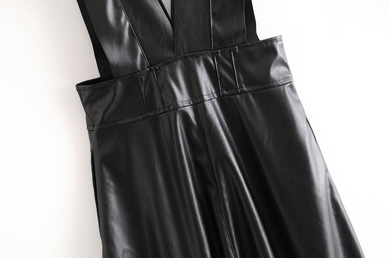 Fashion Autumn Winter Women Midi Mid-Calf Faux Leather Tank Dresses Office Ladies A-Line V-Neck Buttons Pockets PU Dress 20