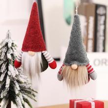 Z motywem bożego narodzenia w paski czapka bez twarzy Gnome mikołajowa zawieszka Nordic Gnome Land bóg starzec lalka boże narodzenie wiszące ozdoby na choinkę Decor tanie tanio Strong-Toyers Bez pudełka Santa Claus