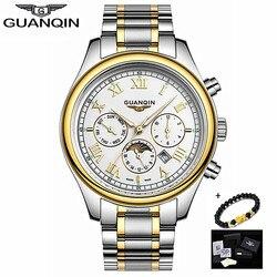 Oryginalny GUANQIN nowy biznes zegarek mężczyźni luksusowe męskie zegarek Sapphire wodoodporna stal nierdzewna mężczyzna zegar zegarki z fazami księżyca