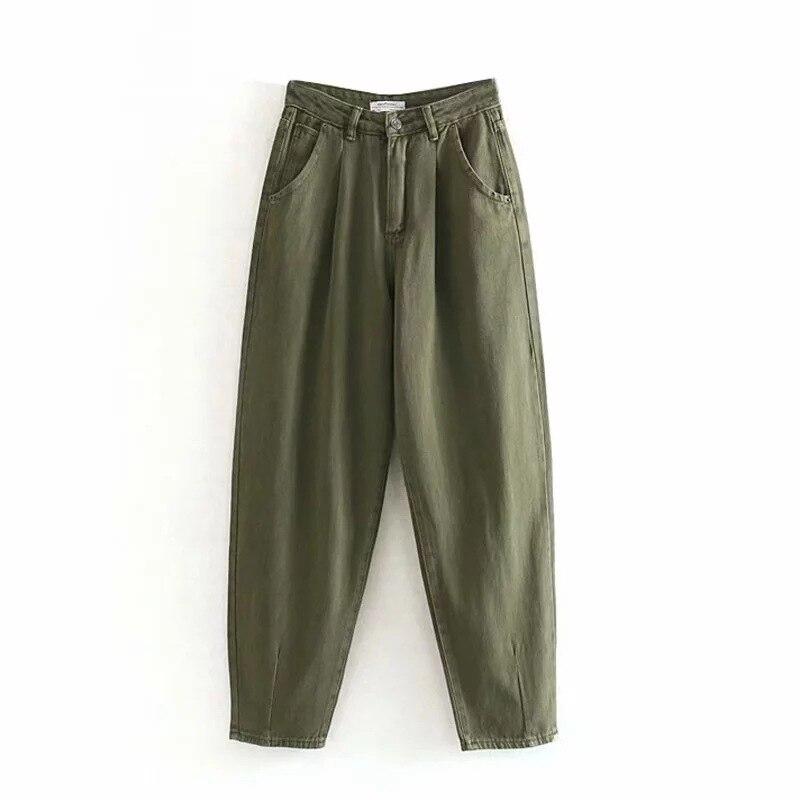 Women Streetwear Pleated Mom Jeans High Waist Loose Pockets Fashion Boyfriend Pants Casual Zipper Fly Ladies Denim Trousers
