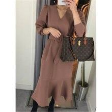 Женское Элегантное Длинное платье русалки осенне зимнее корейское