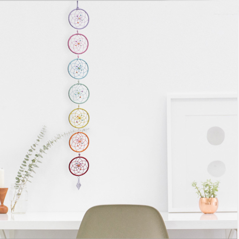 Chakra Dream Catcher with Crystal Chandelier Drop Prisms Suncatcher Handmade Rainbow Fengshui Pendant Home Garden Decoration