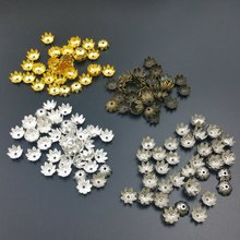 100pcs/Lot 10 mm Silver Lotus Flower Metal Loose Spacer Bead Caps Cone End Beads Cap Filigree For DIY Jewelry Finding Making(China)