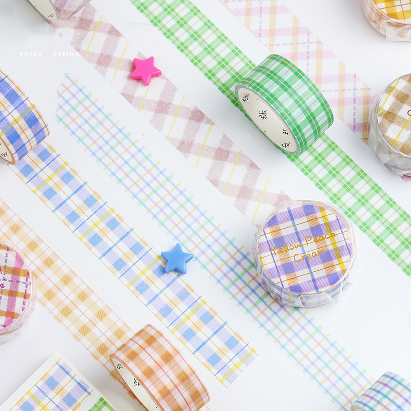 6pcs Nice Drink Plaid Washi Tape Set 20mm Mango Milk Tea Decoration Checker Masking Tapes Sticker DIY Album Diary Frame A6709