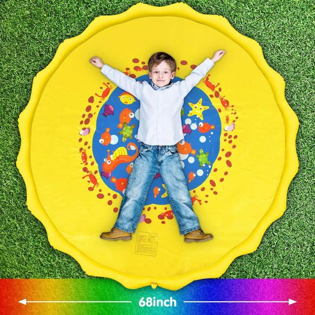 68inch Inflatable Play Mat Summer Outdoor Spray Water Toys Cushion PVC for Children Play Water Mat Outdoor Tub Swimming Pool