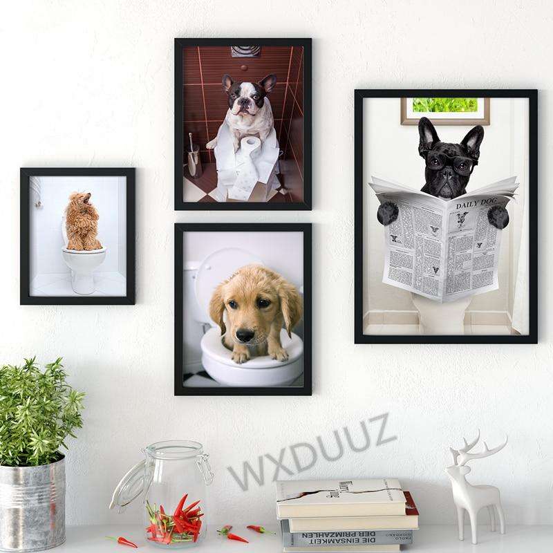 Унитаз в скандинавском стиле, собака, газета, животное, постер, забавная мультяшная картина, украшение детской комнаты, художественный деко...