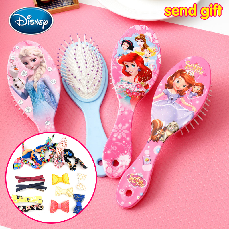 Disney Baby Girl Comb Princess Minnie Frozen Comb Cartoon Beauty Fashion Toys Curly Hair Brush Combs Anti-static Brush Comb