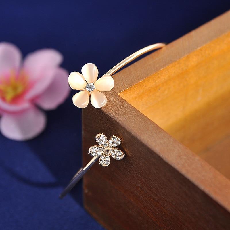 Women Girl Fashion Flower Opal Crystal Bracets Gold Color Cuff Hot Sale Bracelet Bangle Charm Jewelry Gift Fashion Jewelry 1