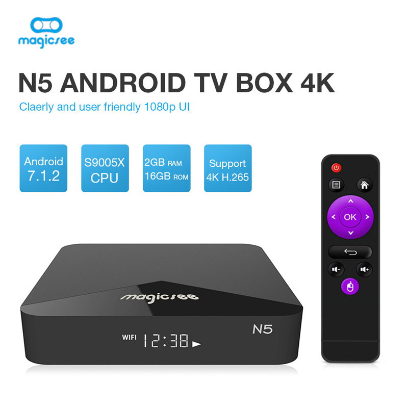 MAGICSEE N5 Smart TV Box Android 7.1.2 Amlogic S905X Mali 450 2GB 16GB Set Top Box 2.4G Wifi 4K H.265 Bluetooth 4.1 Media Player