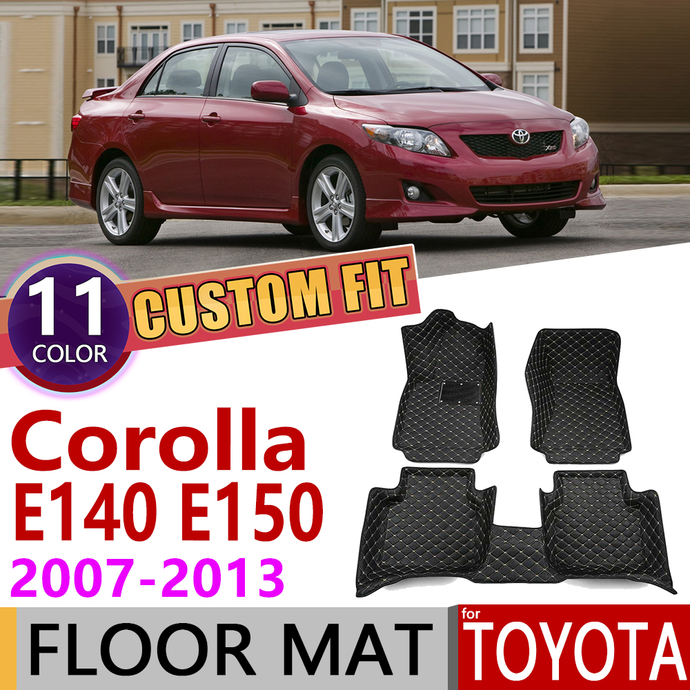 Custom Leather Car Floor Mats For Toyota Corolla Altis E140 E150 2007~2013 5Seats Foot Pad Carpet Accessories 2008 2009 2010