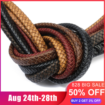 1yard/lot Width 10mm 12mm Braided Real Leather Cord Bracelet Findings Flat Rope Thread For DIY Jewelry Making