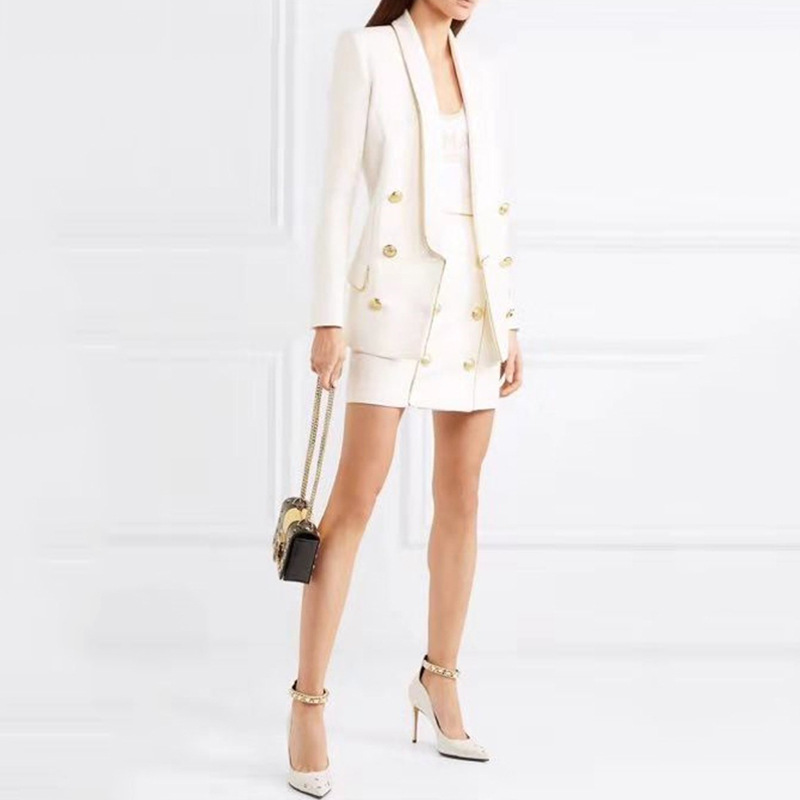 Women Skirt Suits Elegant Office Long Sleeves Double-Breasted Blazer Jacket & Mini Skirt 2 Piece Set Female Spring Outfits