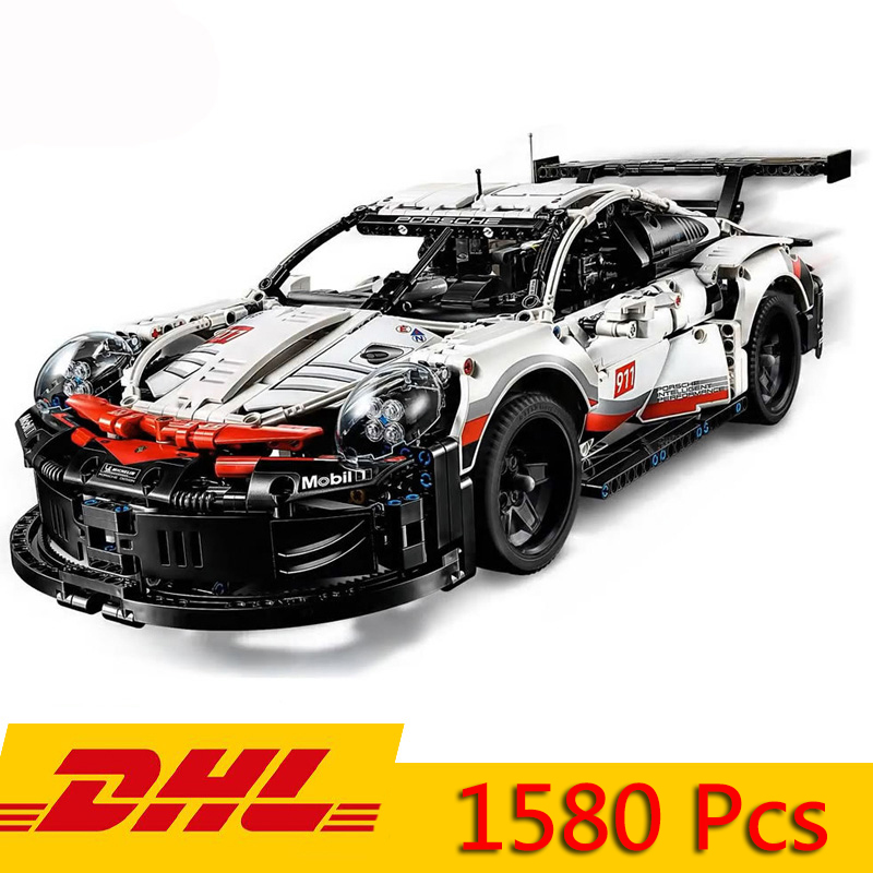 DHL Technic Series Formula Racing Car 911 RSR Model 20097 90066 Compatible Legoings 42096 1580pcs Supercar Building Blocks Toy