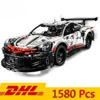 DHL técnica serie fórmula coche de carreras de 911 RSR, modelo 20097, 90066 Compatible con Legoings 42096 1580 Uds Supercar bloques de construcción de juguete