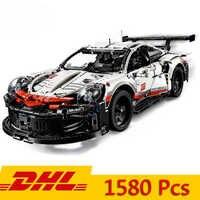 Dhl série técnica fórmula carro de corrida 911 rsr modelo 20097 90066 legoings compatíveis 42096 1580 pçs supercar blocos de construção brinquedo