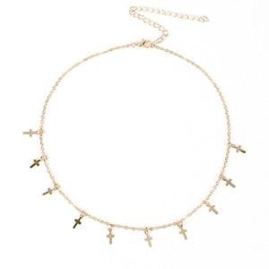 Простое классическое ожерелье-чокер с подвеской-крестом и кисточкой, креативная Очаровательная Женская Золотая цепочка до ключиц, христиа...