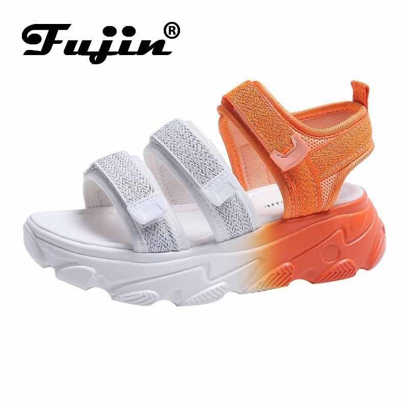 Fujin Thương Hiệu Giày Sandal Nữ 2020 Nữ Thời Trang Mới Giày Bling Nêm Khóa Dây Giày Đế 5 CM Xăng Đan Mùa Hè