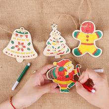 Cute Cartoon Wooden Christmas Decorations For Home Decor DIY Painting Hanging Pendant Tree Kids Toy Gift