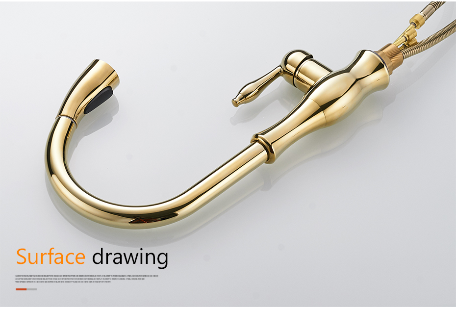 H49fa5ac46c714f42a9dd14dc13e9b771S Gold Kitchen Faucets Silver Single Handle Pull Out Kitchen Tap Single Hole Handle Swivel Degree Water Mixer Tap Mixer Tap 866011
