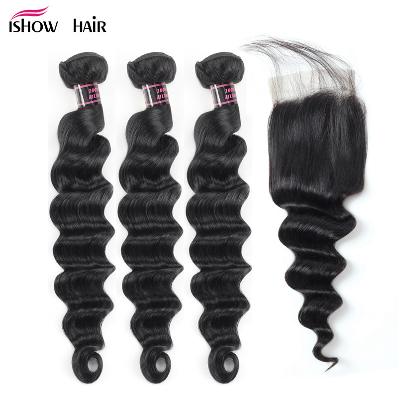 Ishow Loose Deep Wave Bundles With Closure Brazilian Hair Weave Bundles With Closure Non Remy Human Hair Bundles With Closure