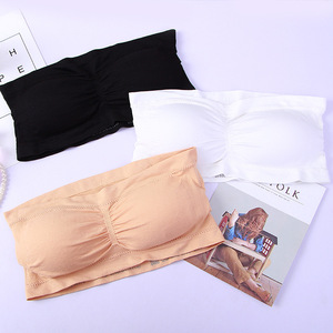 Lady's Sexy Strapless Crop Top Bra Bandeau Boob Tube Brassiere Summer Breathable Mesh Invisible Strapless Chest Wraps Tube Tops