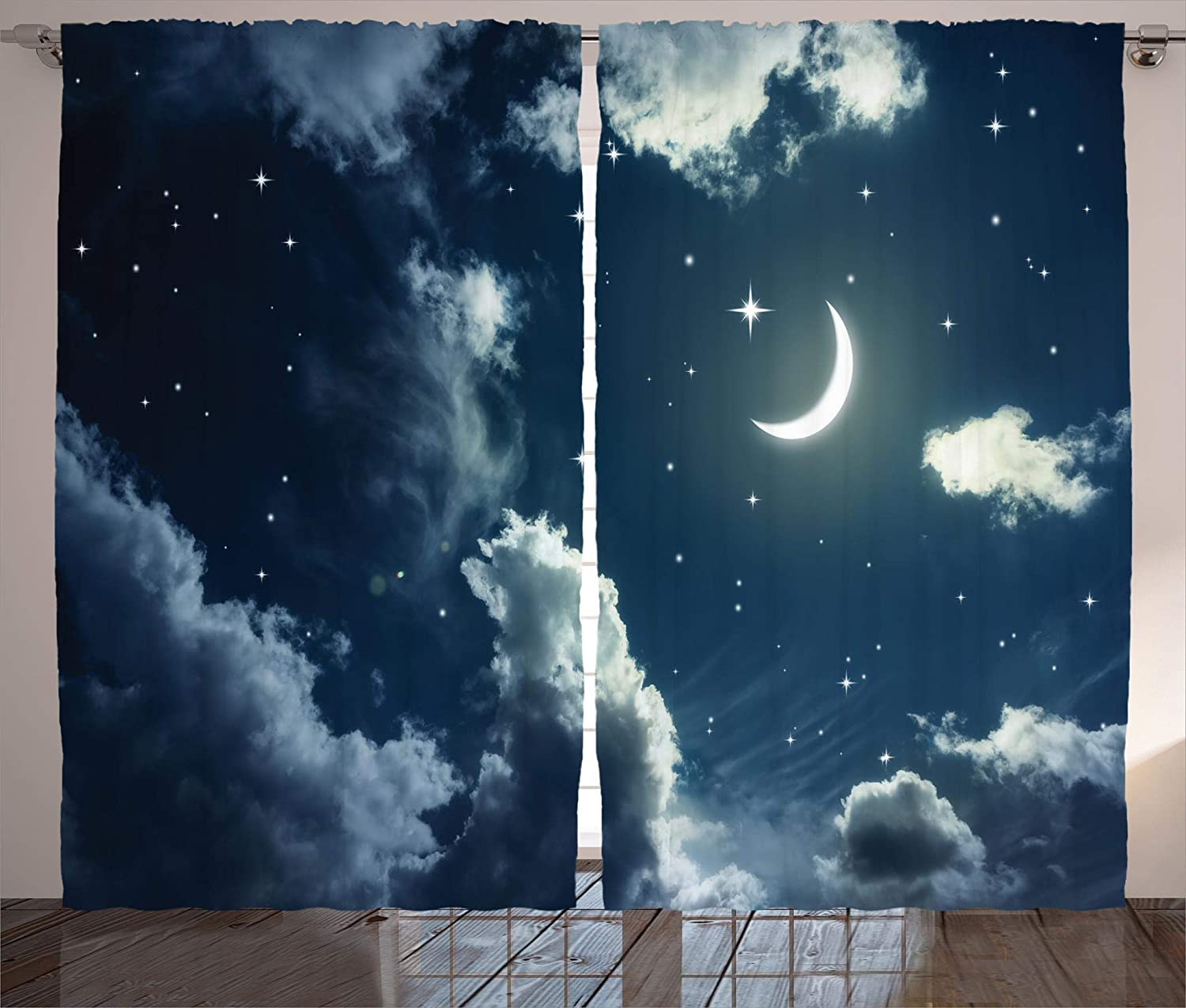 Star Curtains Crescent Moon And Stars On A Cloudy Starry Night Sky Moonlight Astronomy Theme Picture Living Room Bedroom Window
