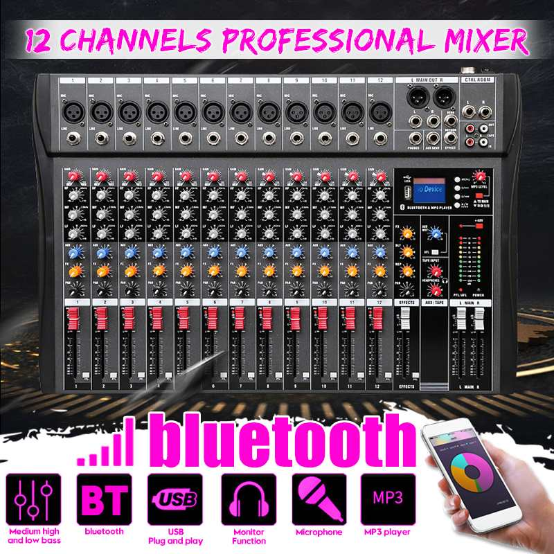 12 kanäle bluetooth Digitale Mikrofon Sound Mischpult Rekord Phantom Power Monitor12 Kanäle Audio Mixer mit USB