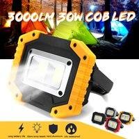 Luz de trabajo 30W 2 COB, reflector impermeable con carga USB, batería recargable 18650, reflector Led portátil para Camping