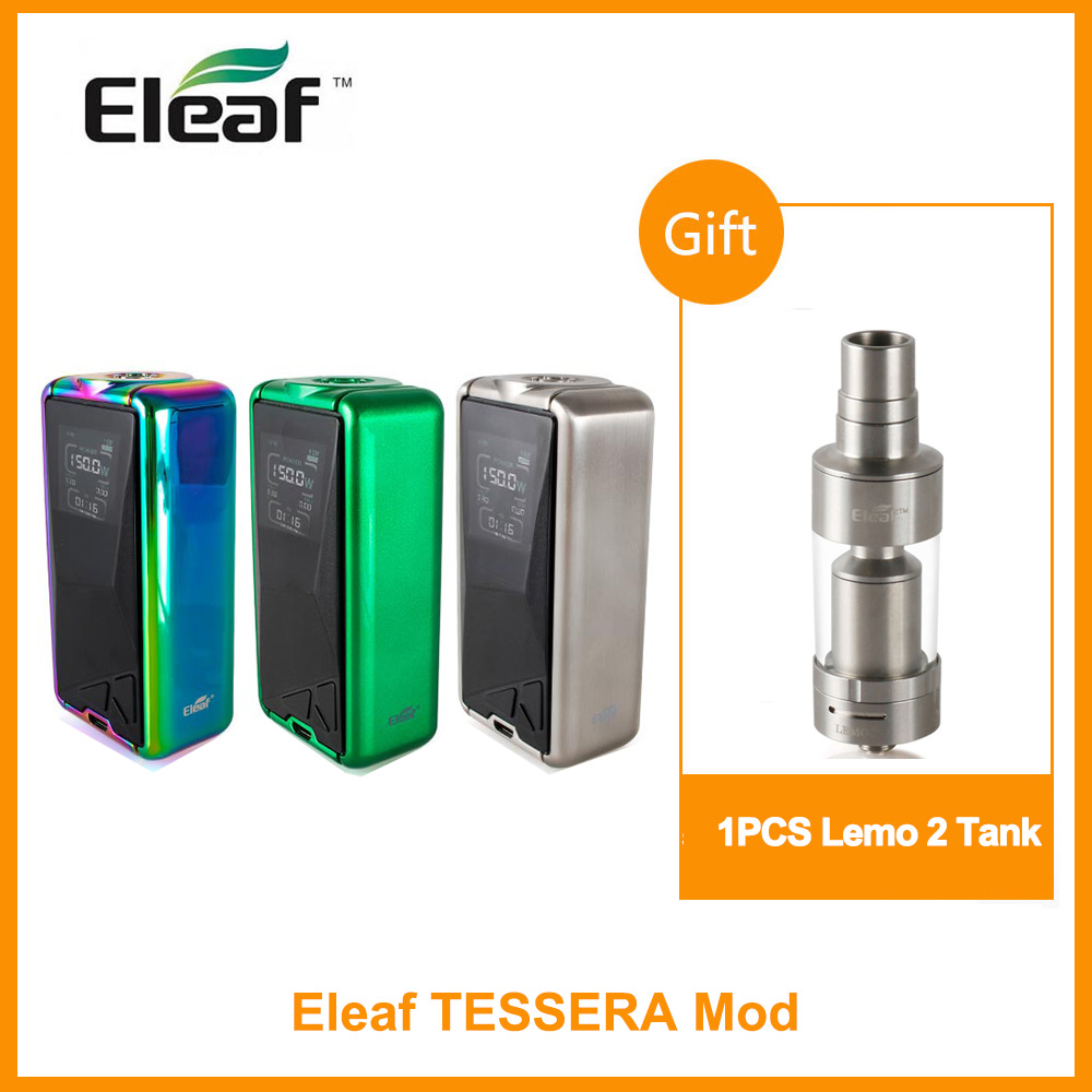 Free Gift Lemo 2 Original Eleaf Tessera TC Box MOD Built In 3400mAh Battery Output 150W 1.45inch TFT Color E-Cigarette