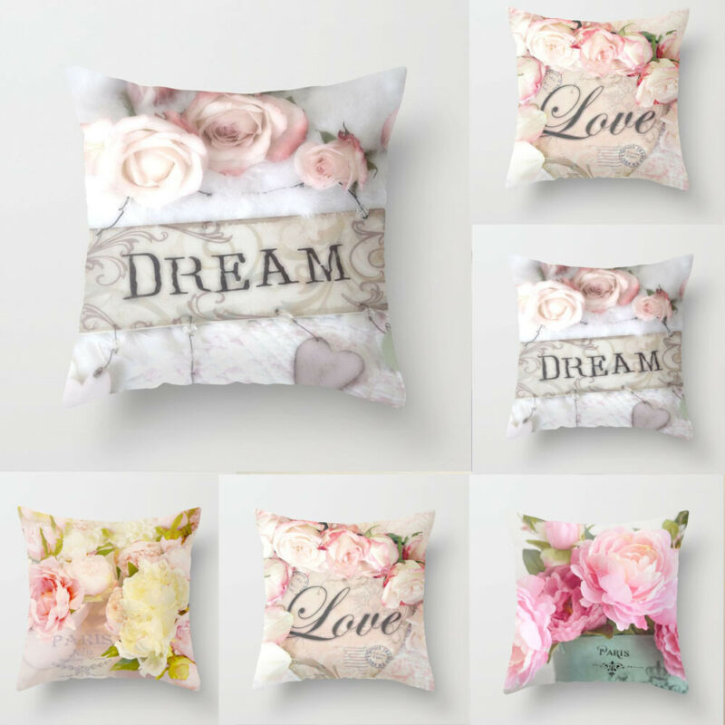 HOT Rose Floral Cotton Cushion Cover Sofa Car Waist Cushion Cover Home Decor Cushion Cover in Cushion Cover from Home Garden