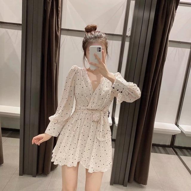 Za Dress Woman 2020 Polka Dot Mini Dress Long sleeve V-neckline Zip fastening White Women's Dresses for Summer 3