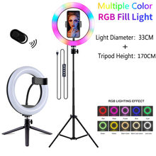 Luz de vídeo pode ser escurecido rgb selfie led anel de luz com tripé suporte usb lâmpada anel grande fotografia aro luz para tiktok youtube