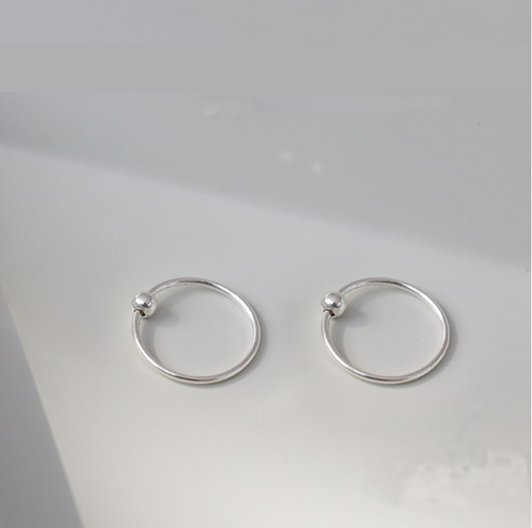 2pcs S925 6mm-12mm Small Round Hoop Earrings Accessories For Diy Jewelry Making Ear Bone Ring With Bead Findings