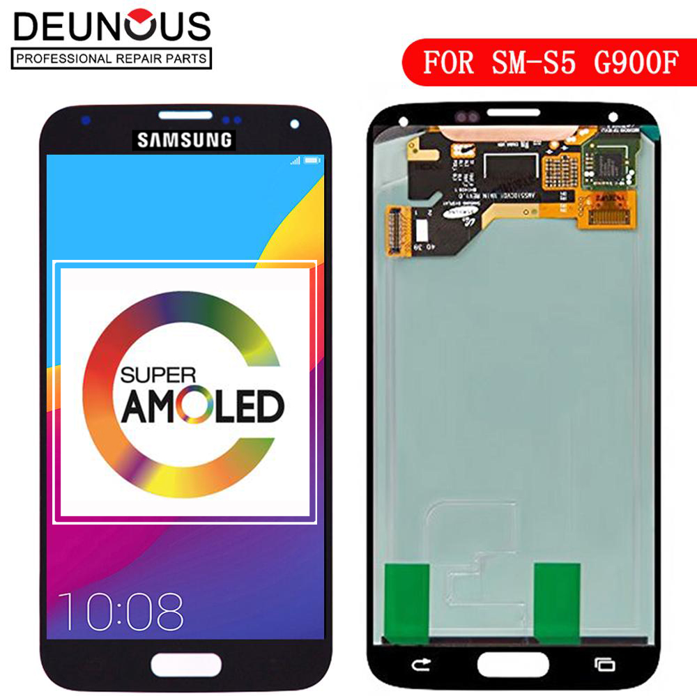 SUPER AMOLED LCDS For Samsung Galaxy S5 I9600 <font><b>G900</b></font> G900A G900F LCD <font><b>Display</b></font> Touch Screen Assembly Home Button Replacement Sticker image